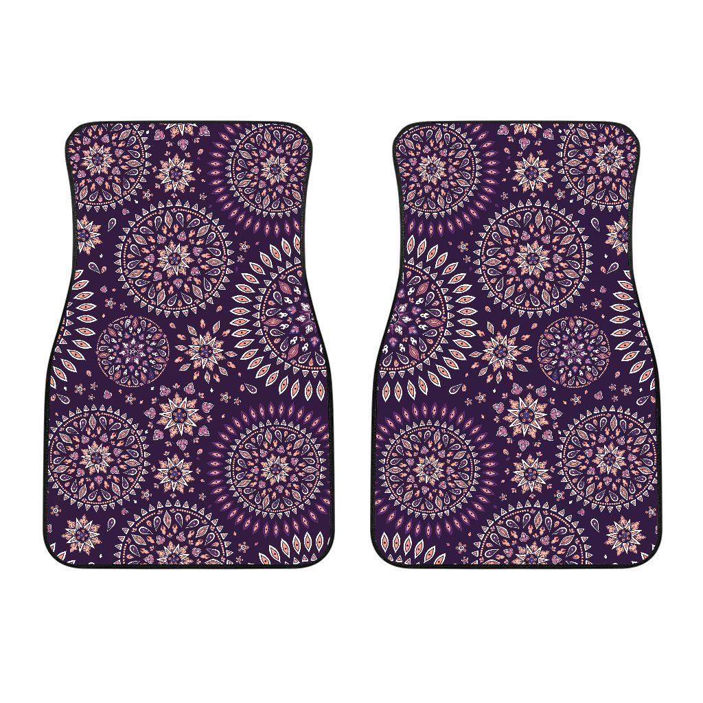 Purple Bohemian Mandala Pattern Print Front Car Floor Mats