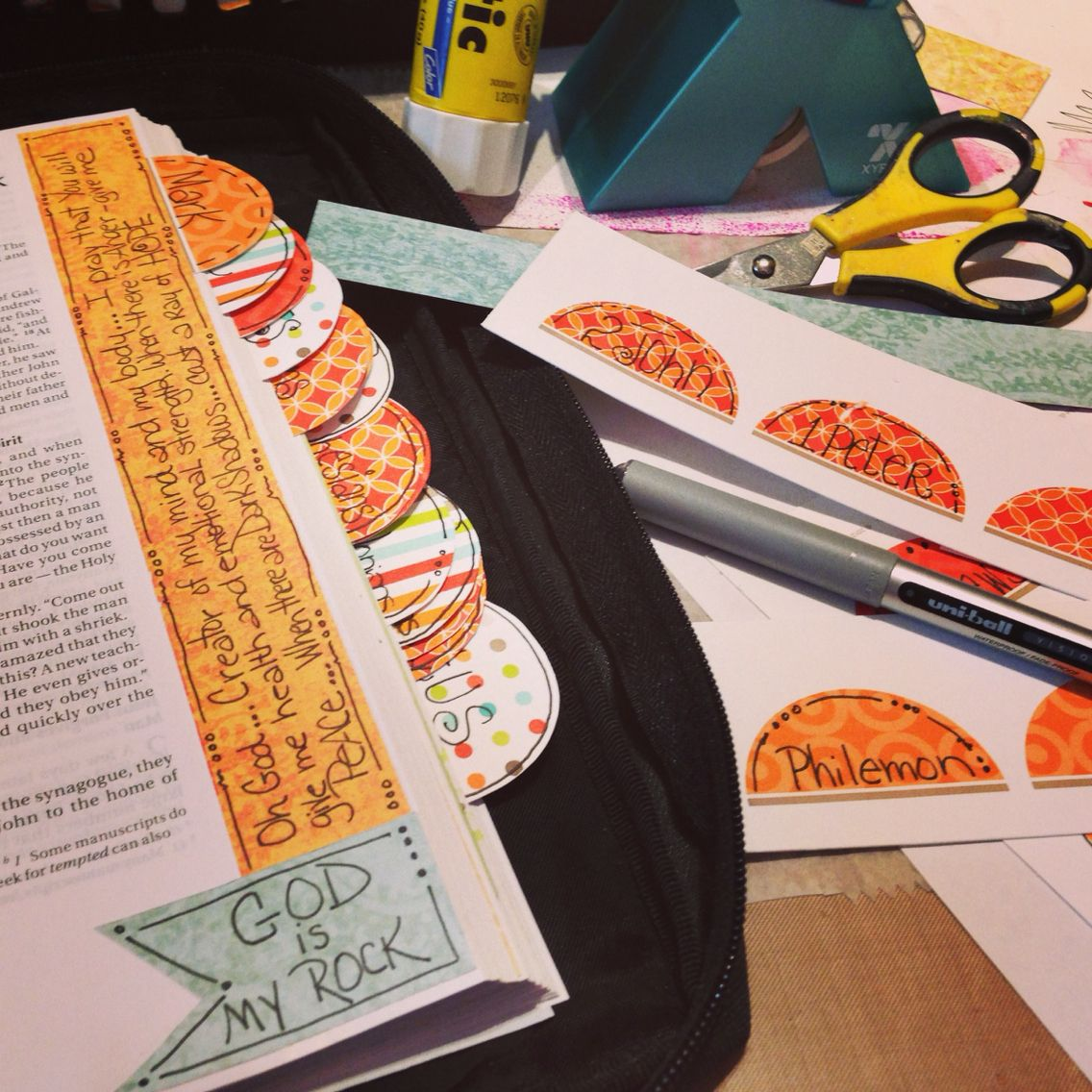Making tabs with leftovers of scrapbooking paper and some free printables I found on Pinterest