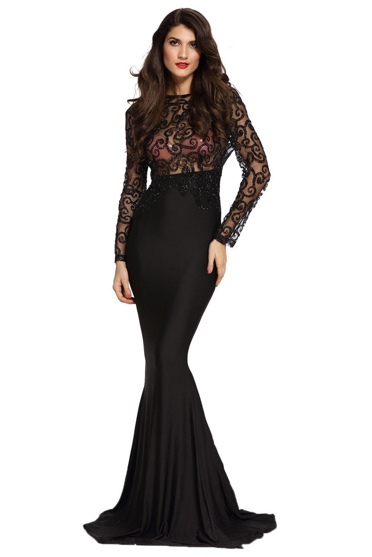 Robe longue femme khaki black sheer glitter mock neck cut out back