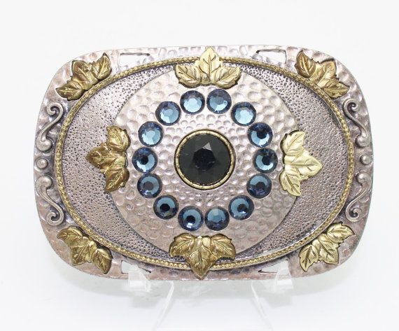 Items similar to Vintage Belt Buckle Silver Gold and Rhinestones on Textured Metal on Etsy