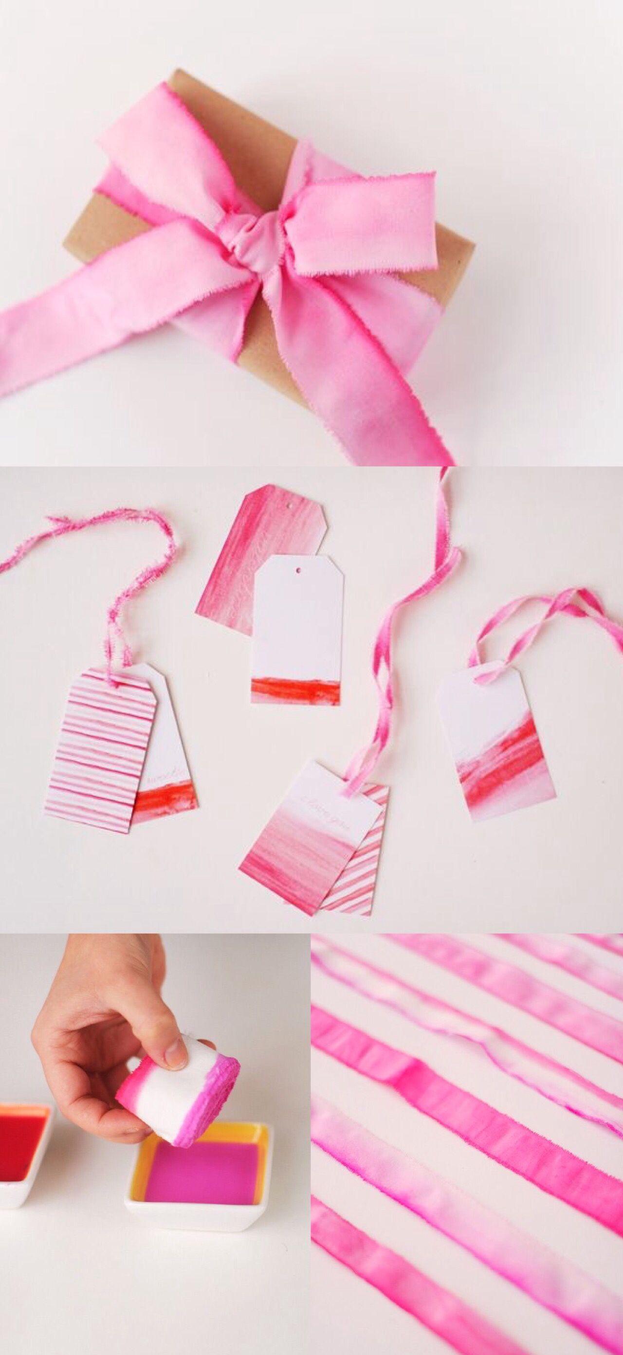 DIY Dip-Dye Ribbons | Dip dyed and Gift