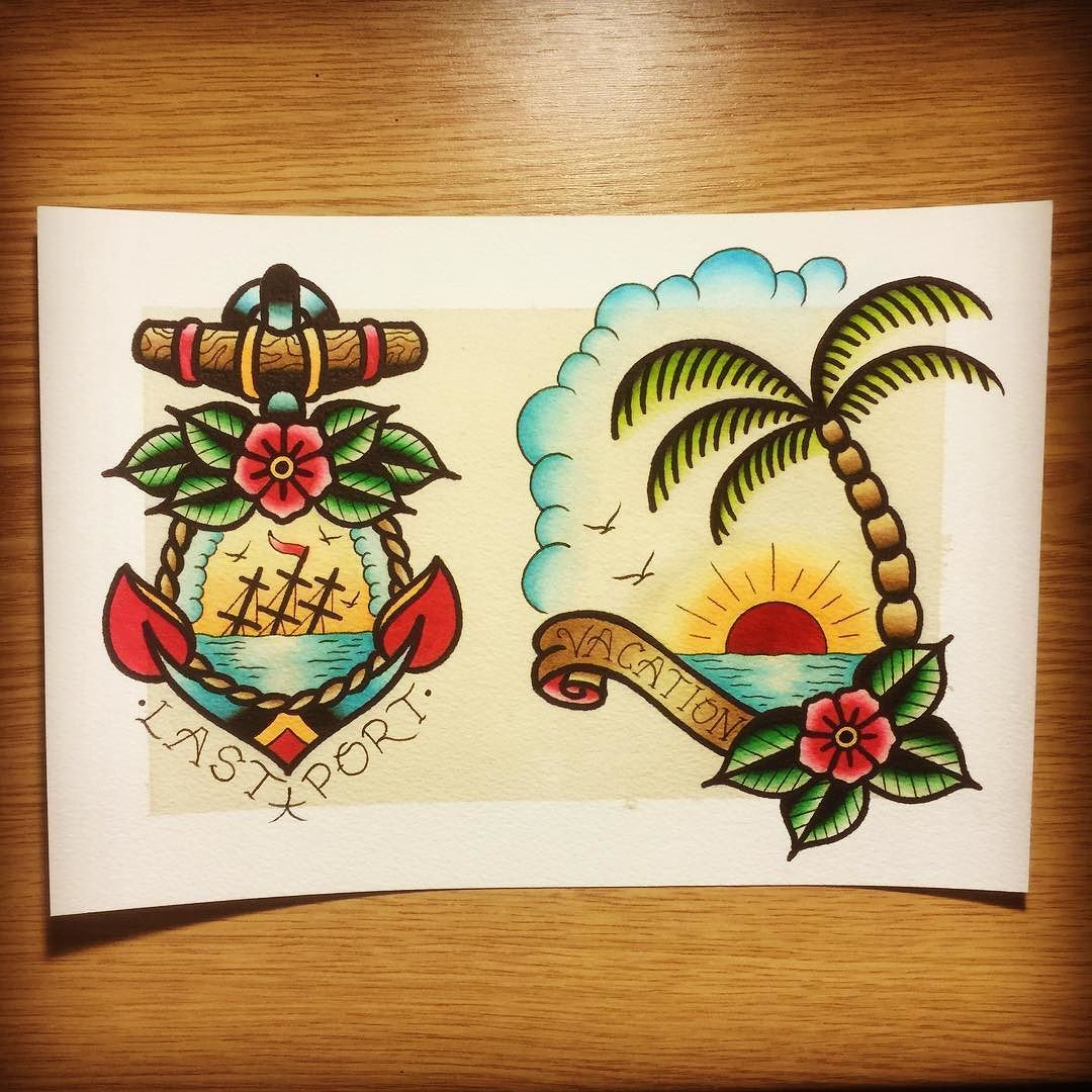 Traditionaltattoo Flash I Like The Right One But With Something