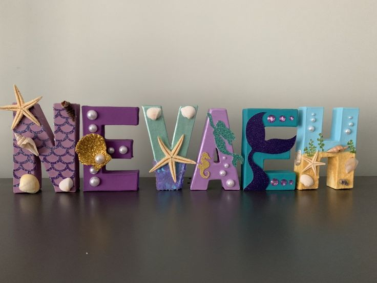 Photo of Mermaid stand up letters – under the sea – beach – ocean – party – shells – cake smash photo shoot –