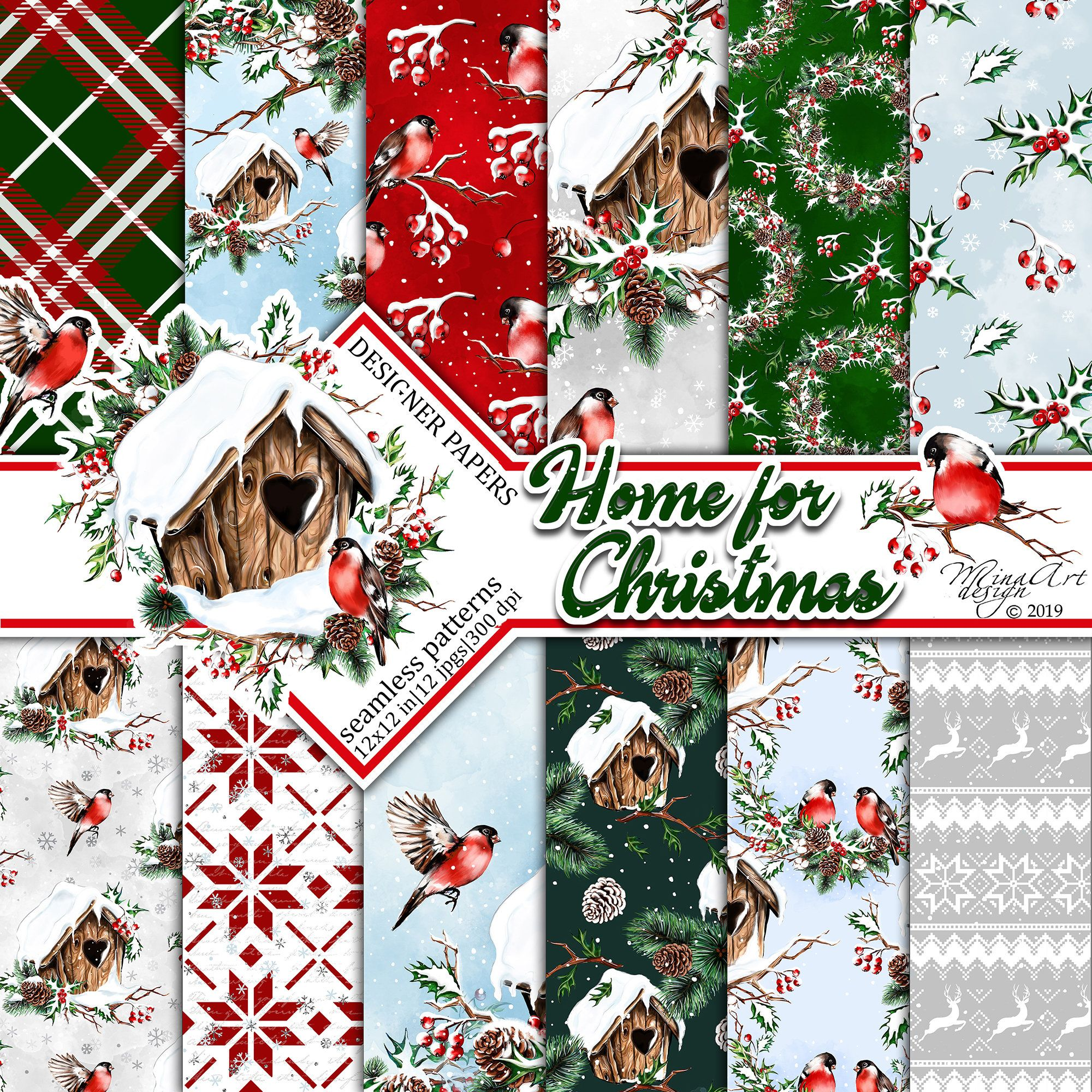 Christmas in the Forest digital paper pack Winter holiday printable designs Animals and Birds Christmas scrapbook pattern collection