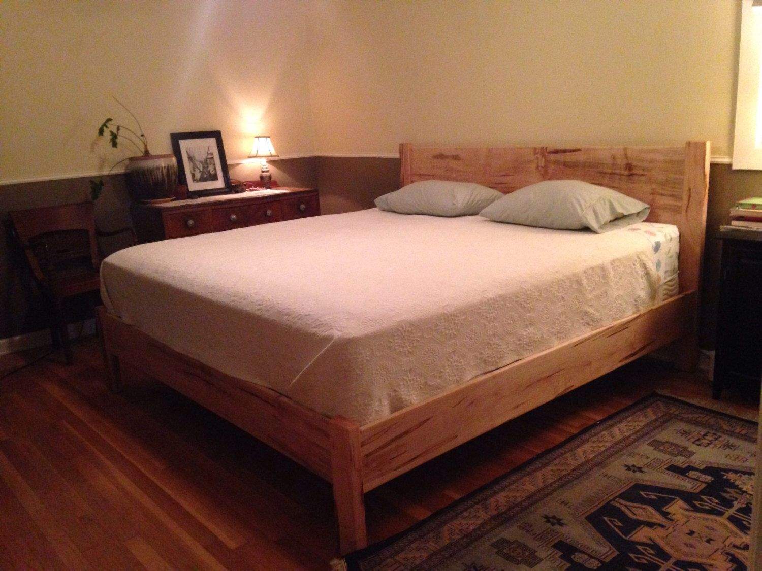 curly maple or maple simple platform bed frame w straight headboard custom made solid hardwoods twin full queen king california king - Maple Bed Frame