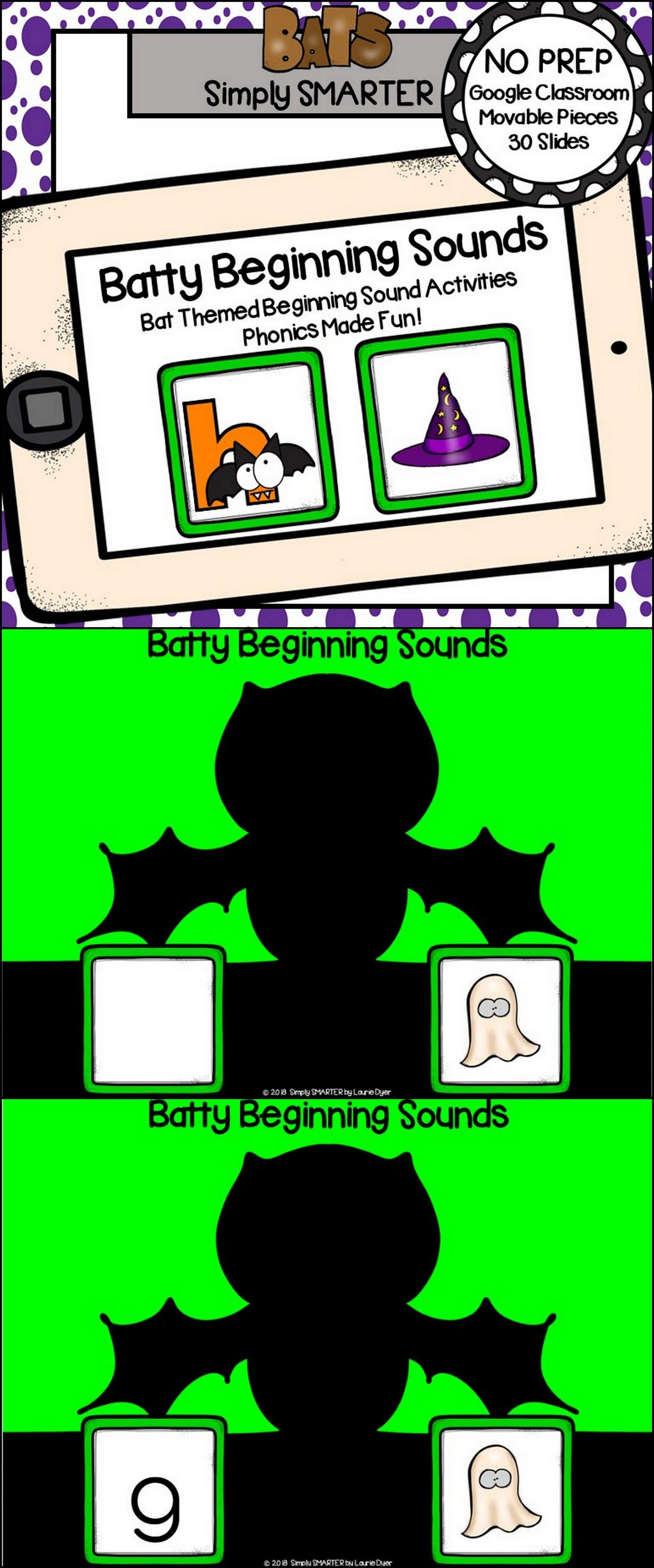 Bat Themed Beginning Sound Activities For Classroom