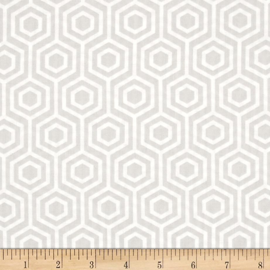 Mint Condition Hexagons Light Grey from @fabricdotcom  Designed by Jackie Studios for Camelot Fabrics, this fabric is perfect for quilting, apparel and home decor accents. Colors include white and light grey.