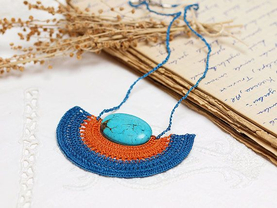Crochet Pendant Necklace in Blue Orange with by PinaraDesign, $32.00