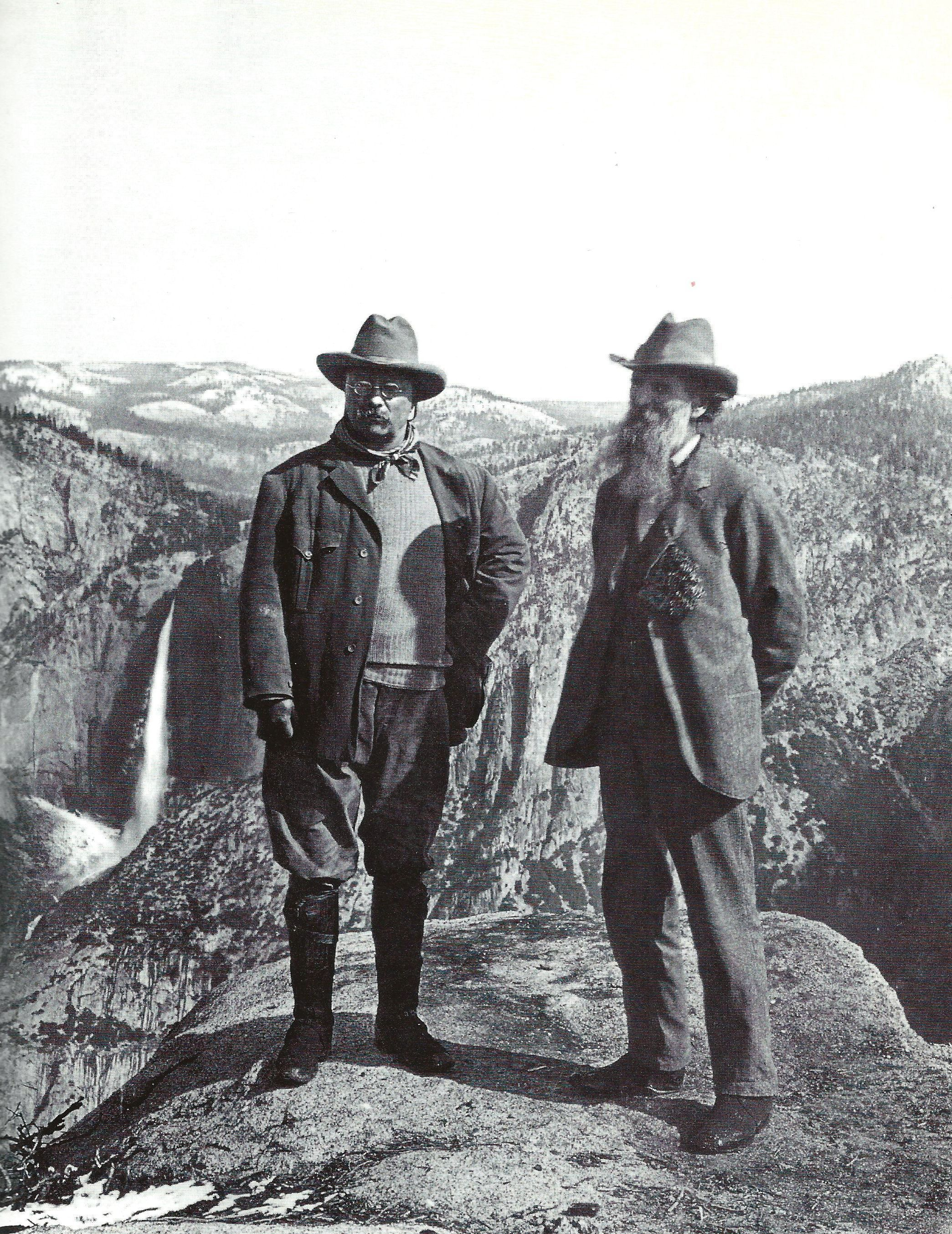 Theodore Roosevelt Atop Glacier Point Yosemite National Park In With Naturalist John Muir