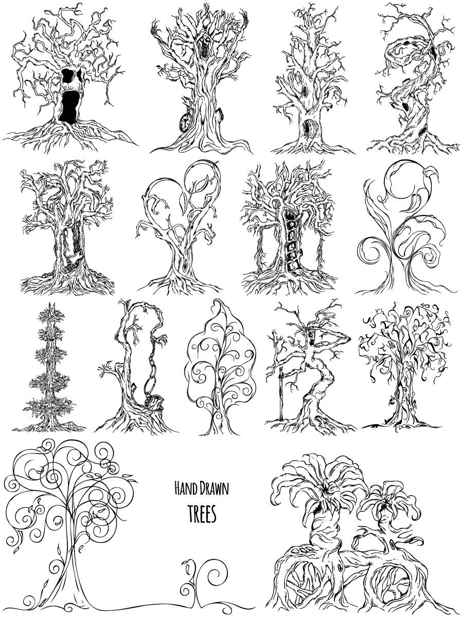 Hand Drawn Tree Vector and Brush Pack01 How