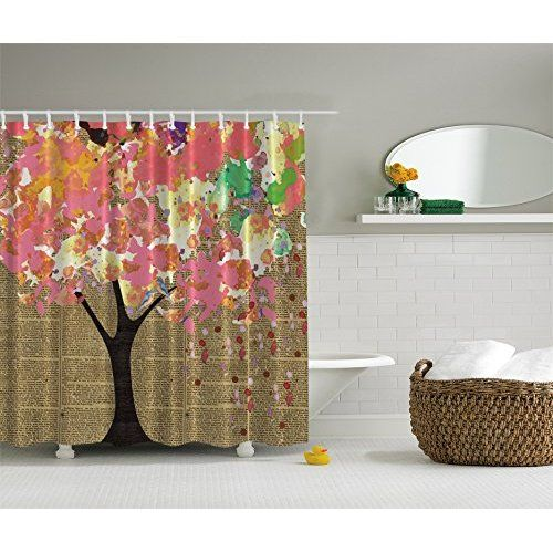 Abstract Art Bathroom Shower Curtain with Trees Decoration Tree of ...