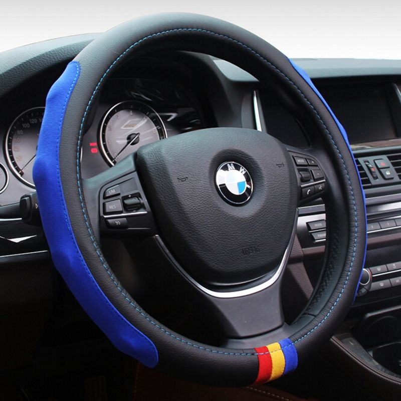 Car Styling M Microfiber Pu Leather Steering Wheel Cover Set For Bmw X1 X3 X5 X6 E21 E30 E36 E46 E90 E91 E92 E9 Wheel Cover Steering Wheel Steering Wheel Cover