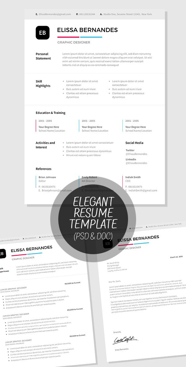 Elegant Resume Template In Psd And Ms Word Format  Misc