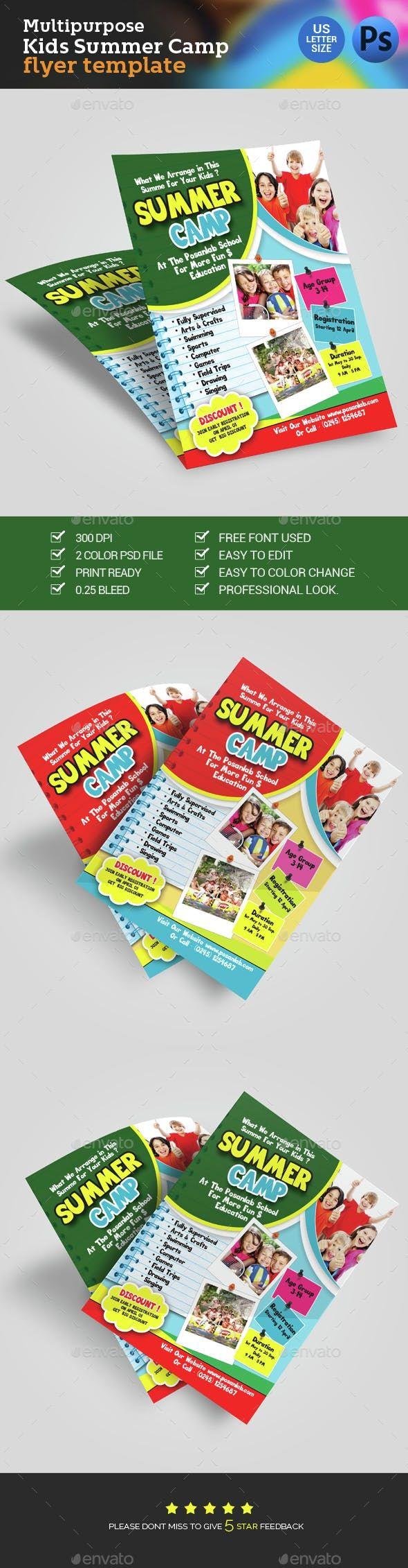 Kids Summer Camp Flyer — Photoshop PSD #marketing #summer ...