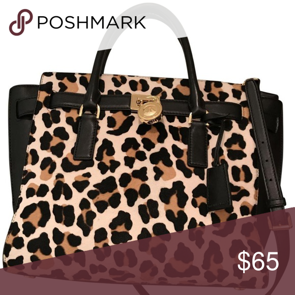 b208a6f543fb Michael Kors handbag leather black purse tote bag MK hamilton leopard print  calf hair genuine black