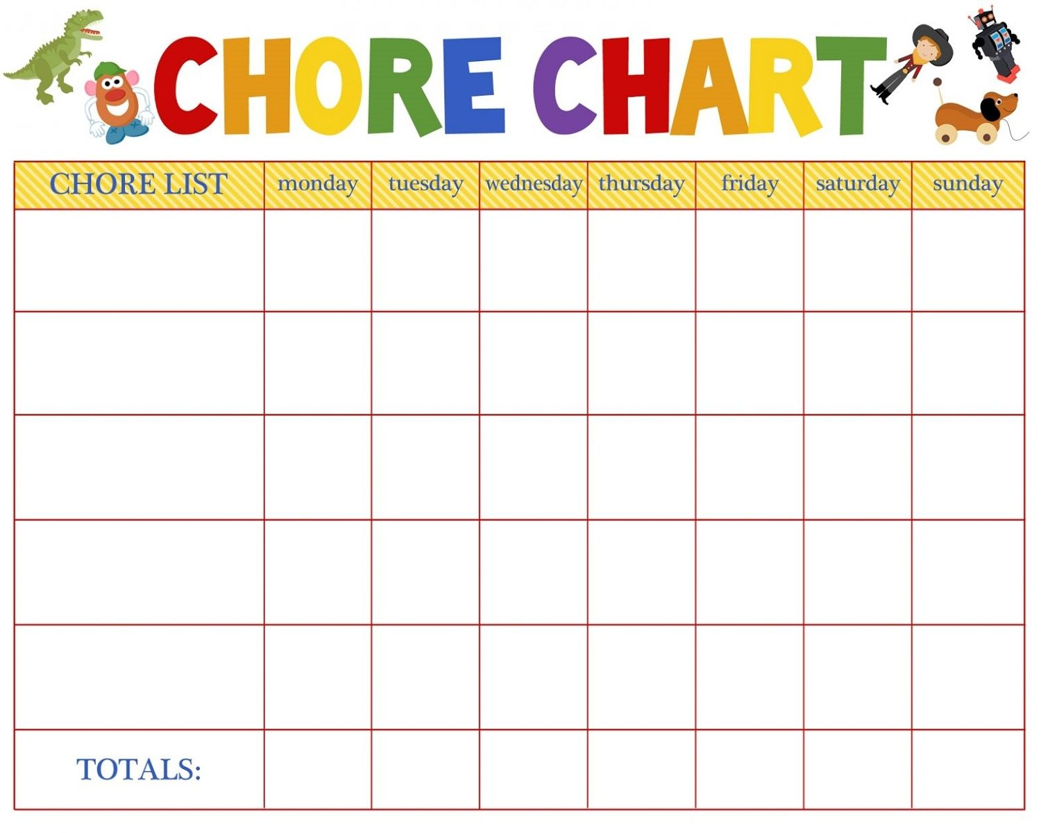 Printable Chore Reward Chart With Images