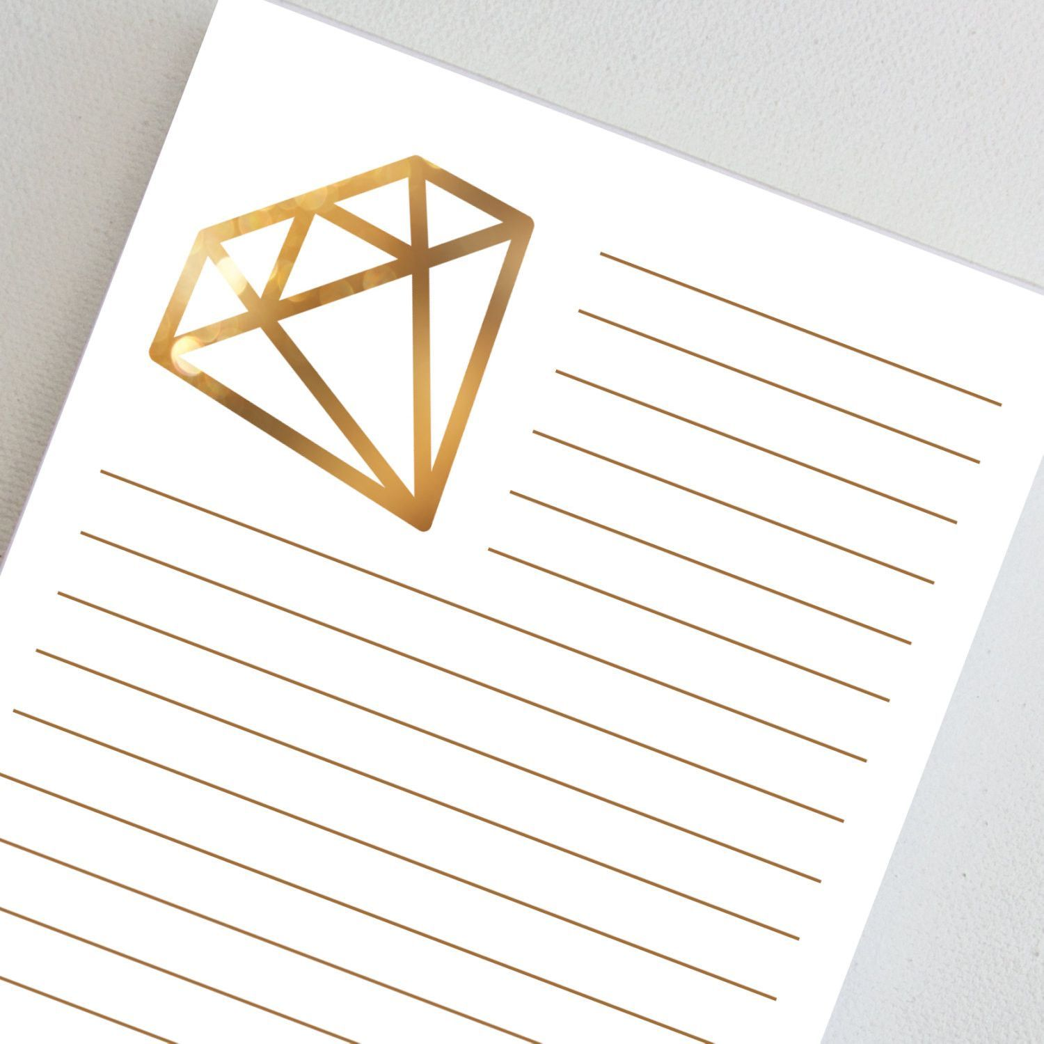 Gold color cardstock paper - Alpha Delta Pi Notepad Personalized Gold Colored Diamond Logo Lined Paper Note Pad Add