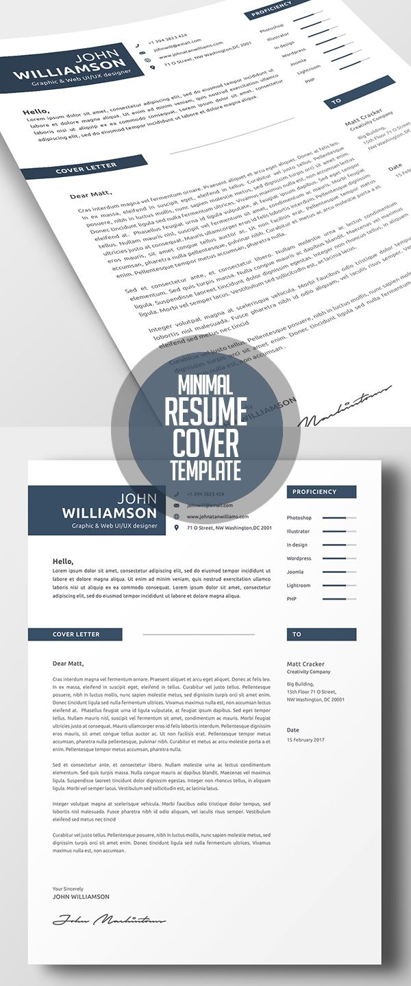 Minimal Resume Template And Cover Letter  Print Ready Designs