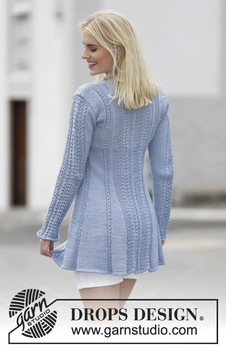 Blue Bird Song Knitted Drops Jacket With Lace Pattern And Shawl Collar In Muskat Or Belle Size S Xxxl F Sweater Pattern Jacket Pattern Knit Jacket