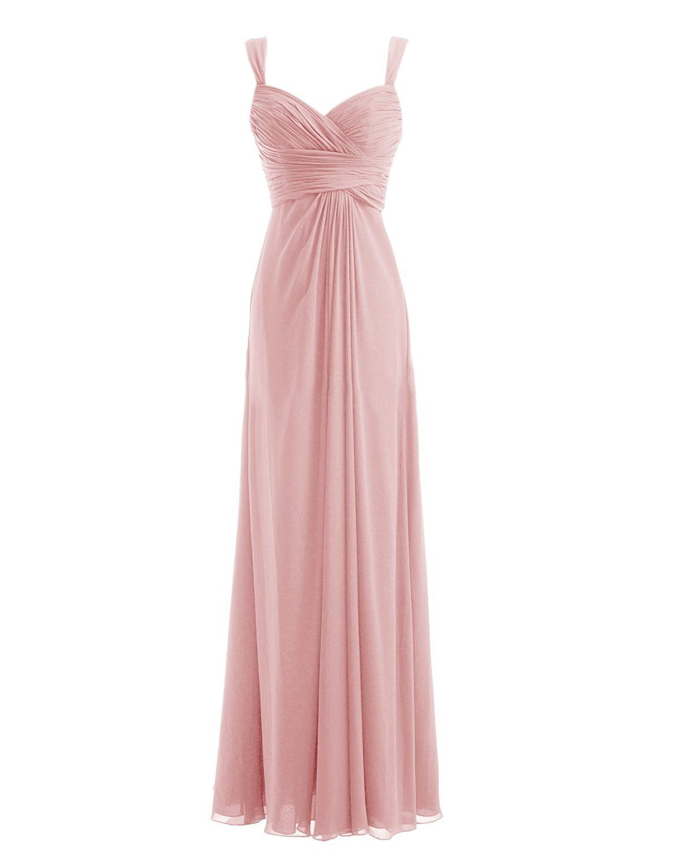 Diyouth Long Spaghetti Straps Bridesmaid Dresses Sweetheart Formal ...