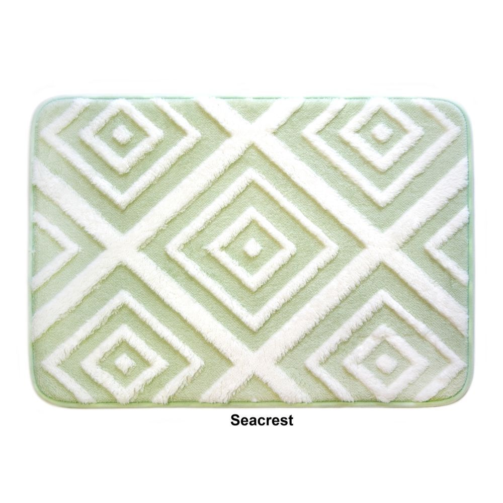 Non-Slip Plush Memory Foam Anti-Fatigue Rectangle Sea-crest Bath Mat ...