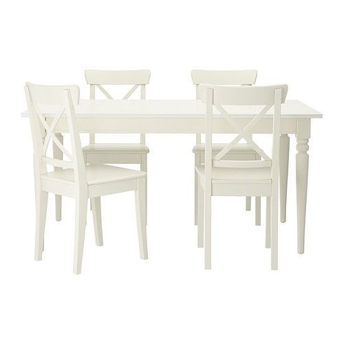 White Dining Table Ikea: IKEA INGATORP / INGOLF White Table And 4 Chairs In 2019