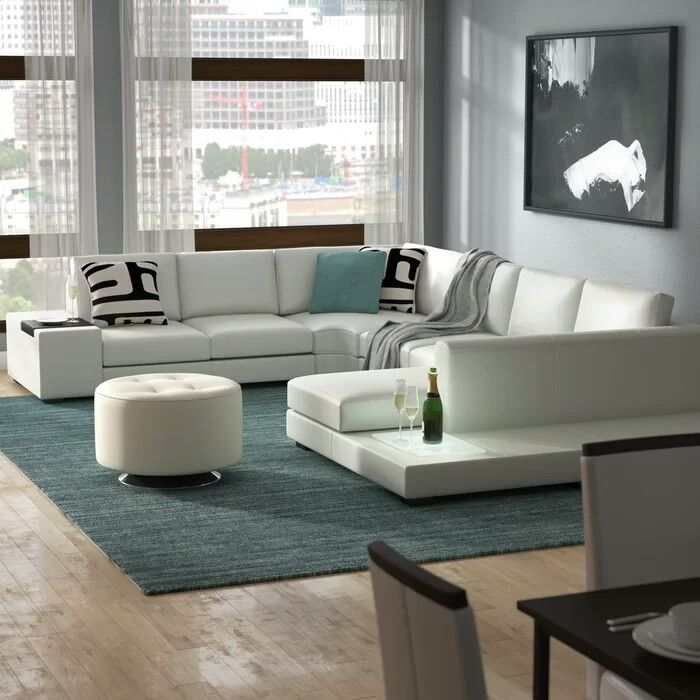2 100 The Alana Leather Sectional Sofa With 2 End Tables Reveals A Pioneering Design Featuring A Built I Sectional Sofa Sectional Sofa Sale Modern Sectional