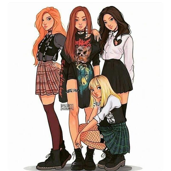 Картинки с 3 девушками нарисованные, днем