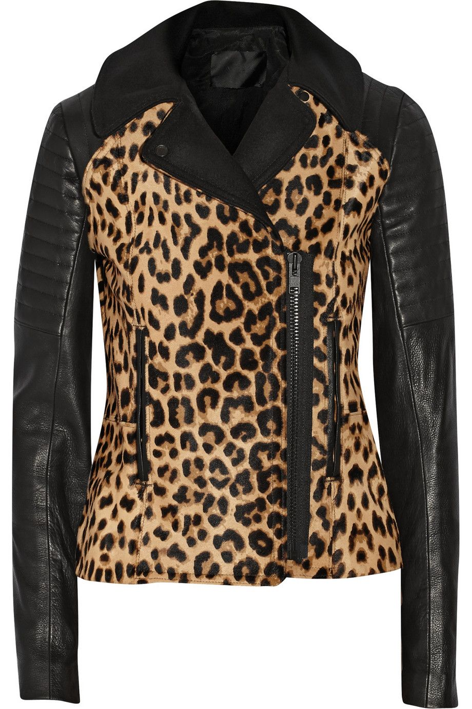 d1aacbfcf A.L.C.Lee leopard-print calf hair and leather biker jacket | leopard ...