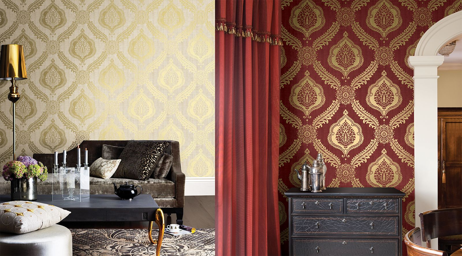 red and gold living room wallpaper
