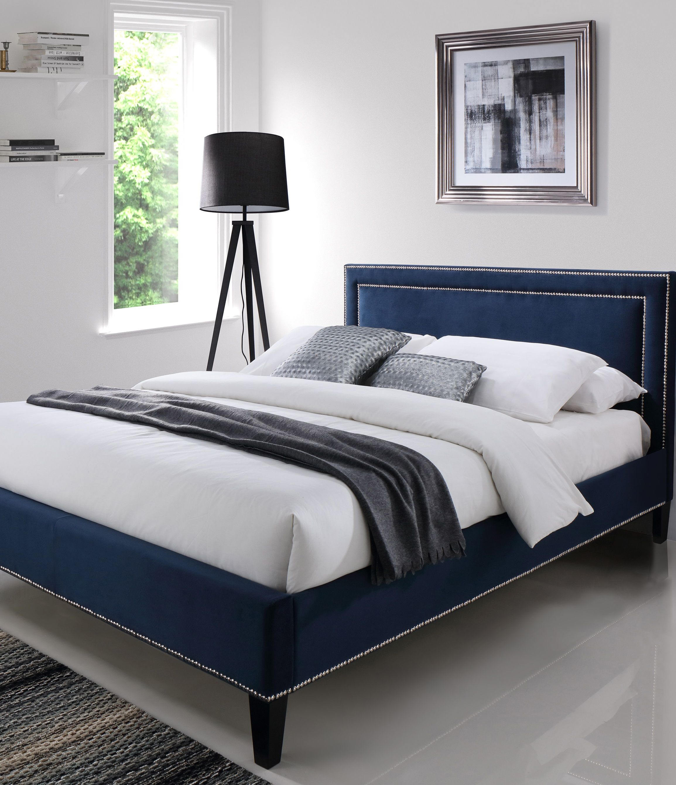 High Quality Bed With A Touch Of Blue Velvet