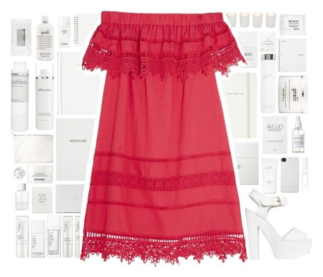 """red summer"" by thailibarrios-1 ❤ liked on Polyvore featuring Kate Spade, Sloane Stationery, NARS Cosmetics, Nails Inc., H&M, Muji, Witchery, Nly Shoes, Sea, New York and Hermès"