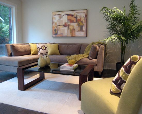 Contemporary Living Room With Lime Green Padded Armless Chair Also ...