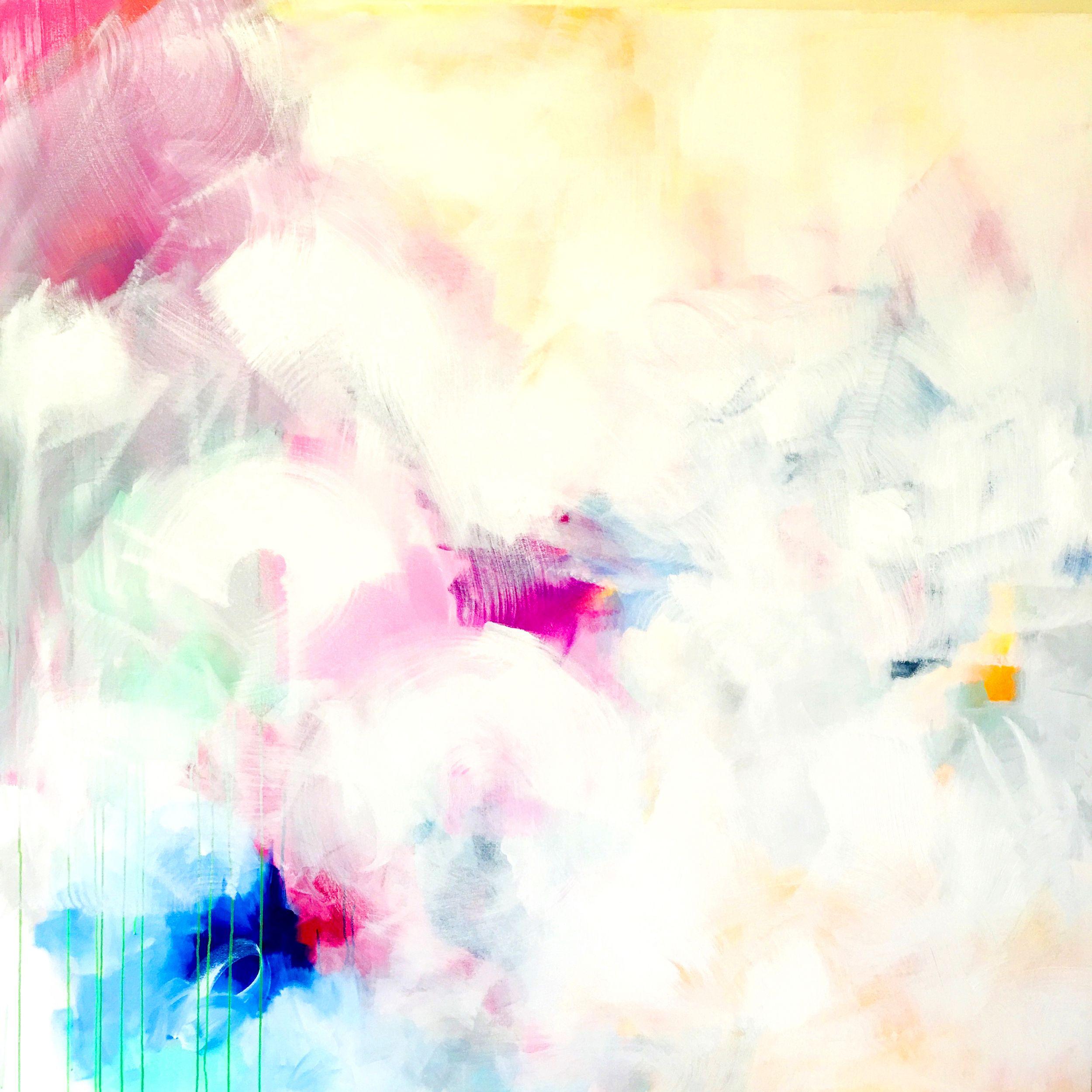 Do It Over, Sana Jamlaney, Acrylic, and Spray Paint on Canvas, 72x72 in, 2016