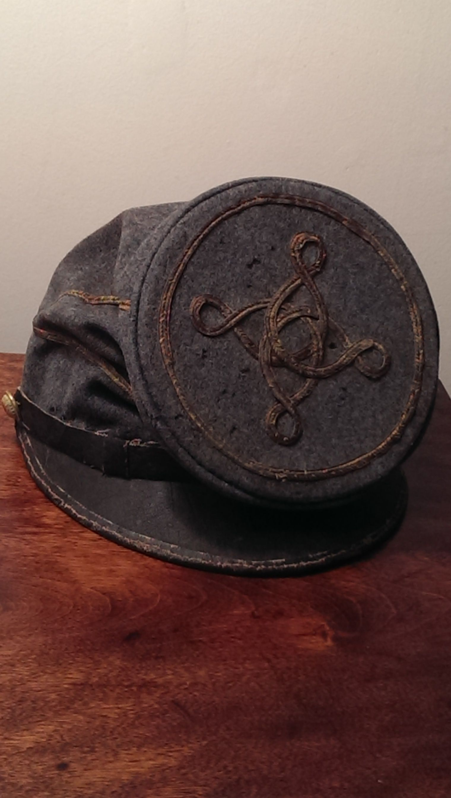 Late war lieutenant's forage cap  Certainly depot made  Found