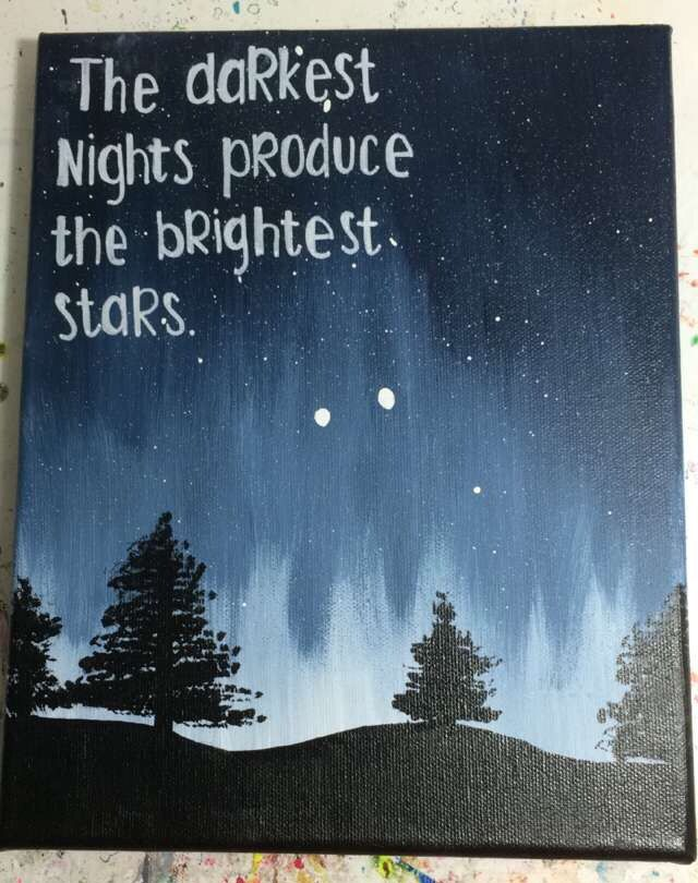 Hand painted canvas with quote.