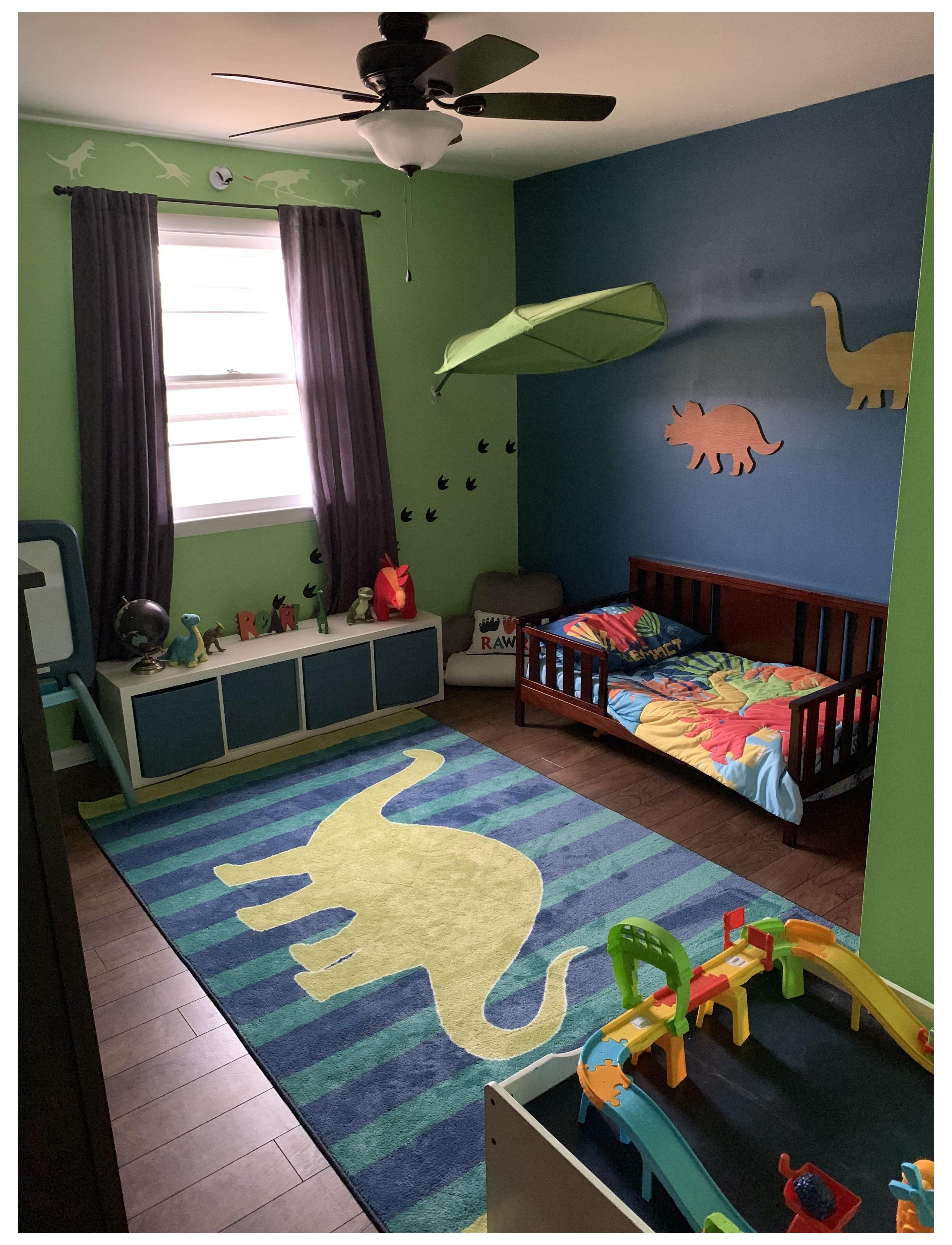 It S Not A Pirate Ship Bed Or A Castle But Pretty Proud Of How Our 2 Year Olds Dino Room Turned Out 2 Toddler Boy Room Themes Toddler Rooms Boy Room Themes