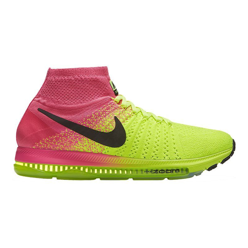4bffbe6a5f2cc Nike Women s Zoom All Out FlyKnit Unlimited Running Shoes - Volt  Green Pink Black