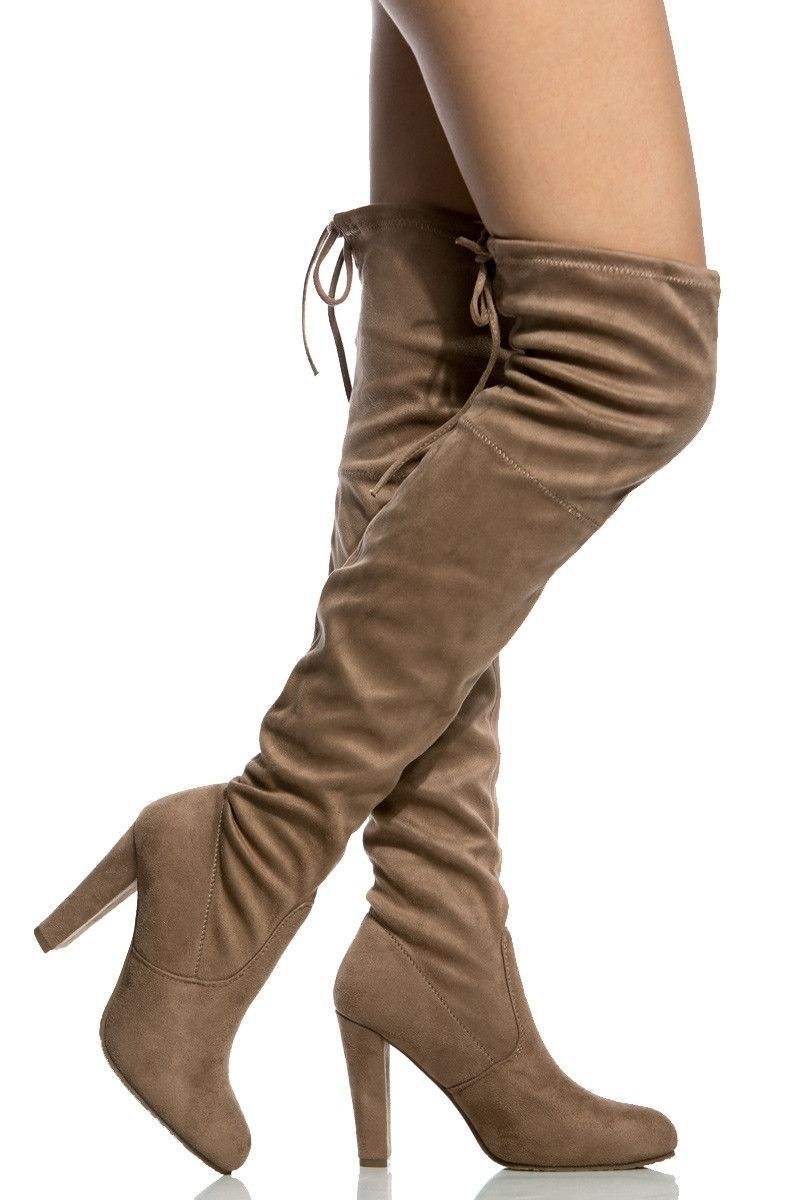 4104278115e1 Taupe Faux Suede Chunky Thigh High Boots
