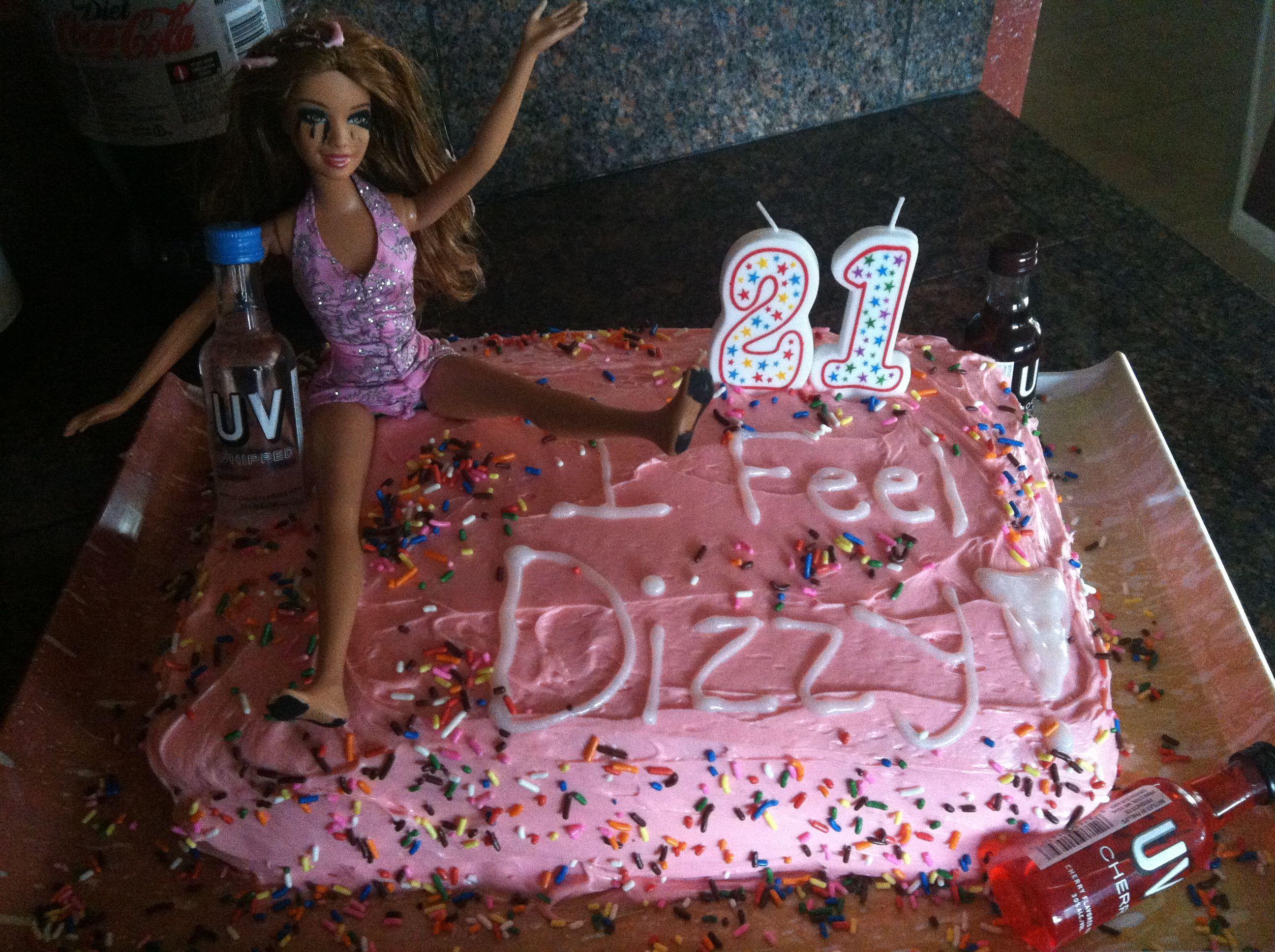 Birthday Cake For Little Sister ~ Drunk barbie cake. 21st birthday for my sister! cakes pinterest
