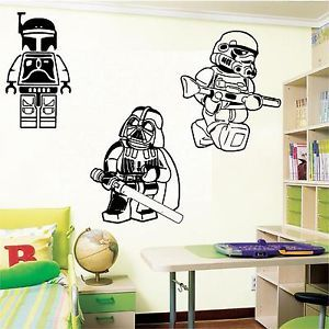 Large Lego Star Wars Darth Vader Stormtrooper Boba Fett Wall Art Bedroom Sticker Ebay Bedroom Stickers Boba Fett Wall Art Lego Room
