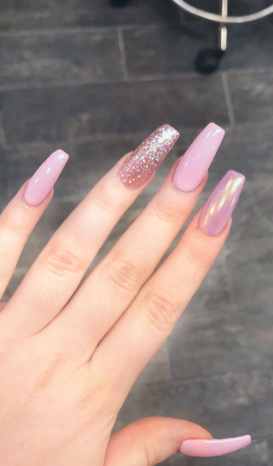 Nails Pink Glitter Chrome Holographic Valentines Long Acrylic Acrylic Nails Coffin Pink Nail Designs Valentines Pink Nail Designs