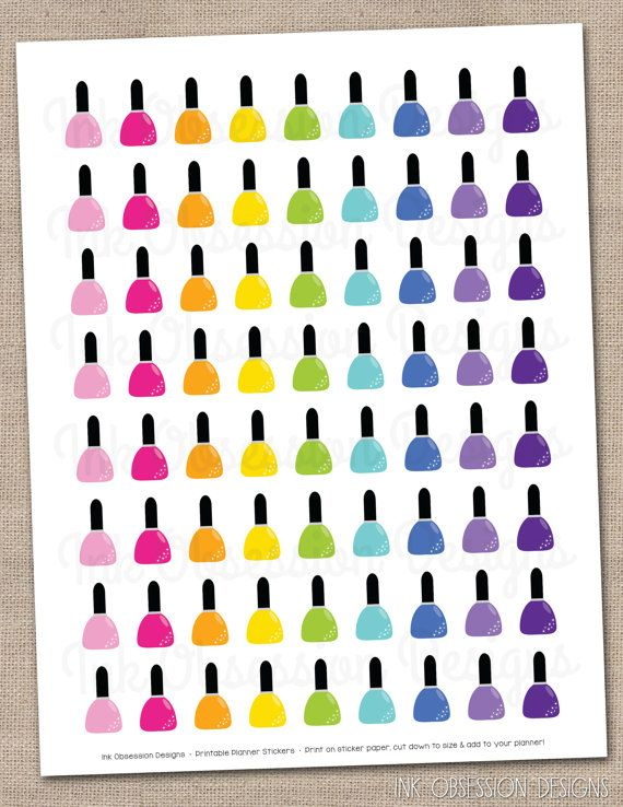 Nail Polish Planner Stickers Instant Download Printable Planner Or