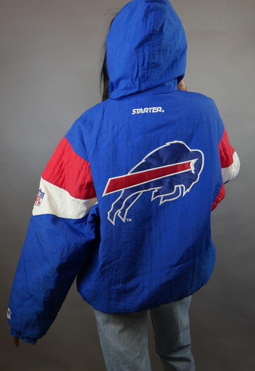 39367260 Blue & Red Buffalo Bills Starter 1/4 Zip Puffer Jacket Coat | TVC ...