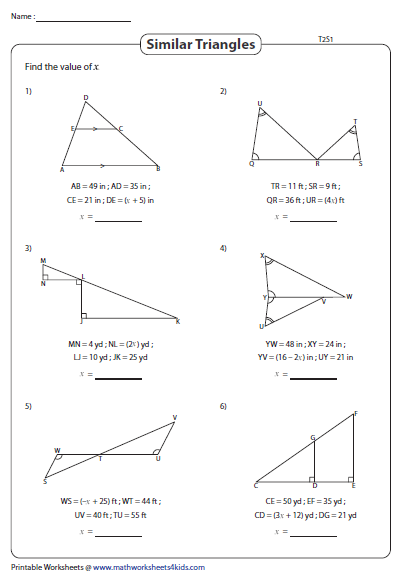 Algebra In Similar Triangles Solve For X Type 2 Similar Triangles Triangle Worksheet Solving Algebraic Expressions