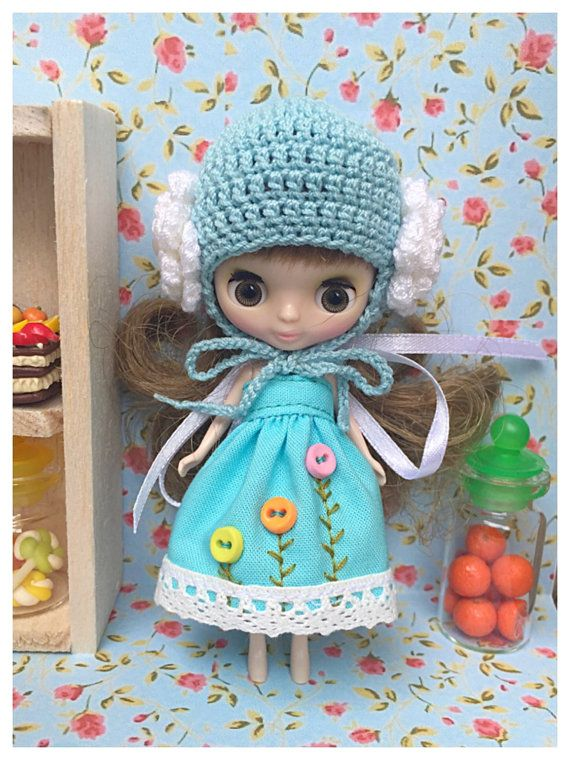Petite Blythe / Little Dal Outfit : Blossoms in Sky Mini by mooKiW