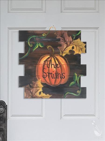 How to Paint Rustic Pumpkin WOOD PALLET | Paint party ...