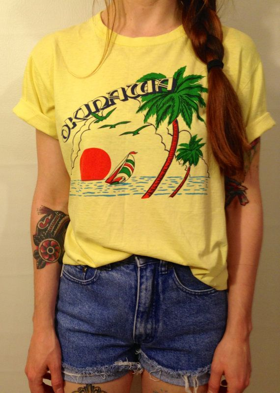 Vintage 70s Bright Yellow Okinawa Japan Paper Thin T Shirt Asia Beach Coconut Colorful Shirts T Shirts For Women Vintage Tees