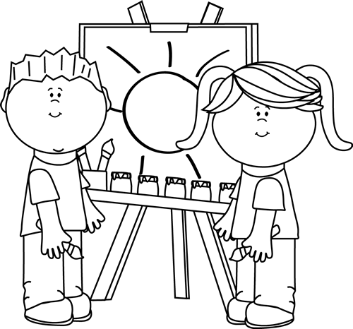Black and White Black and White Kids Painting on Easel
