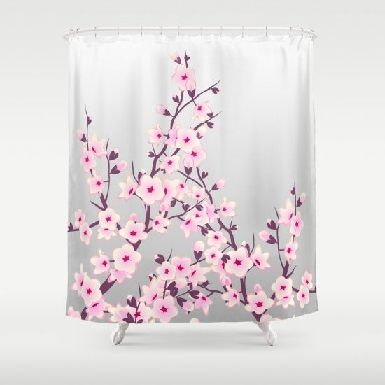 Shower Curtain Sakura Asia Floral Flowers Pink Gray Unique Pretty